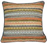 McAlister Textiles Aztec Kollektion | Extragroßer Kissenbezug im Geometrischem Curitiba-Muster | 60cm x 60cm in Orange & Blaugrün | farbenfrohe Deko Kissenhülle für Sofa, Bett, Couch, Kissen
