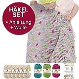 Myboshi Häkel-Set Babydecke mit Pünktchen 64cm x 67cm: 8 x Wolle Lieblingsfarben No.2 + Häkelanleitung + selfmade Label Wollfarben (Elfenbein / Limettengrün /Magenta / Türkis)