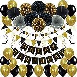 Zerodeco Décorations Anniversaire Happy Birthday Banderole, Pom Poms Banderole en Triangle Guirlandes Suspendus Tourbillons et Ballons