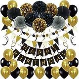 Zerodeco Décorations Anniversaire, Anniversaire Bannière Décoration Fête 43pcs en Happy Birthday Banderole, Pom Poms, Banderole en Triangle, Guirlandes, Suspendus Tourbillons et Ballons - Noir