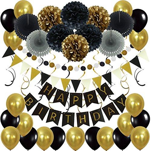 Zerodeco Geburtstagsdeko, Happy Birthday Wimpelkette Banner Girlande mit Pompoms Papier Girlande Fans Fächer Dreieckige Wimpel Spiral Girlanden und Luftballon - Schwarz und Gold