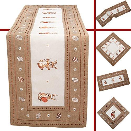 n Ostereier Stickerei Tisch Läufer 40 x 110 cm Polyester, Weiß Braun (Esstisch Läufer Frühling)