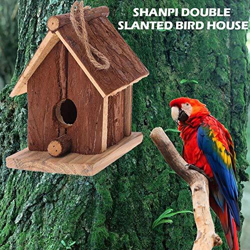Mode Vogelhaus Handwerk Holz Chinese Fir Double Slanted Vogel Kleiderbügel Hängen Nest Haus