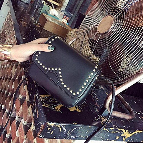 BZLine® Frauen Schultertasche aus Leder Nieten Handtasche Crossbody tasche, 17cm*15cm *6cm Schwarz