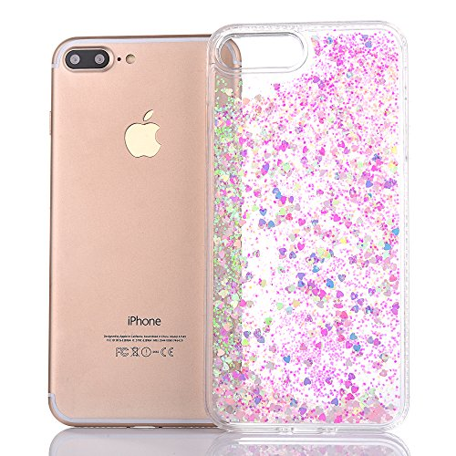 "iPhone 7Plus Hülle, iPhone 7Plus Handytasche, CLTPY 3D Dynamisch Treibsand Flüssige Fließend Glitzer Sparkle Diamant Hartplastik & Soft TPU Hybrid Transparent Schale Case für 5.5"" Apple iPhone 7Plus ( Rosa Herz"