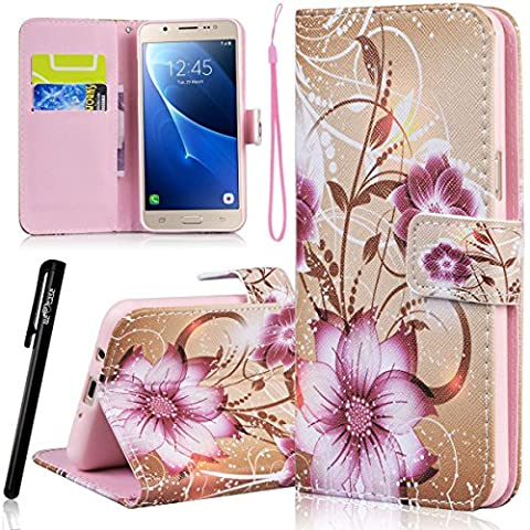 WE LOVE CASE Samsung J7 2016 Wallet Case , Premium Quqlity Leather Cover with Card Holder Kickstand and Magnetic Closure, Folio Flip Foldable Book Feature Protective Case for Samsung Galaxy J7 2016 - Flower Yellow