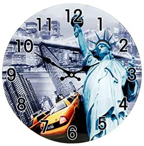 wanduhr glas 38cm new york uhr usa freiheitsstatue taxi glasuhr designer modern. Black Bedroom Furniture Sets. Home Design Ideas