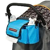 LIBEYE Kinderwagentasche Kinderwagen Organizer Buggy Anhängetasche Babytragetasche für Kinderwagen mit abnehmbarem Schultergurt Multifunktionale Wickeltasche Flaschenfach für Papierhandtücher Blau