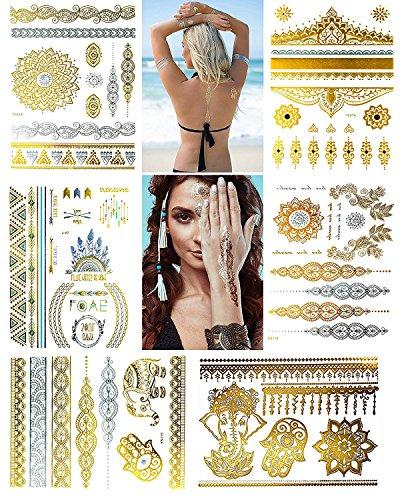 IBEET Abnehmbare wasserdichte Tattoo-Aufkleber für Frauen, temporäre DIY Tattoo-Papier mit verschiedenen Patterns,6 Sheets