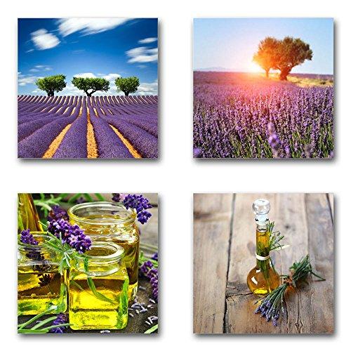 Lavendel - Set A schwebend, 4-teiliges Bilder-Set je Teil 29x29cm, Seidenmatte moderne Optik auf Forex, UV-stabil, wasserfest, Kunstdruck für Büro, Wohnzimmer, XXL Deko Bild