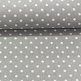Erstklassiger Baumwollstoff 0,5lfm, 100% Baumwolle, modische Muster, Breite 160cm – Getupft 4mm grau