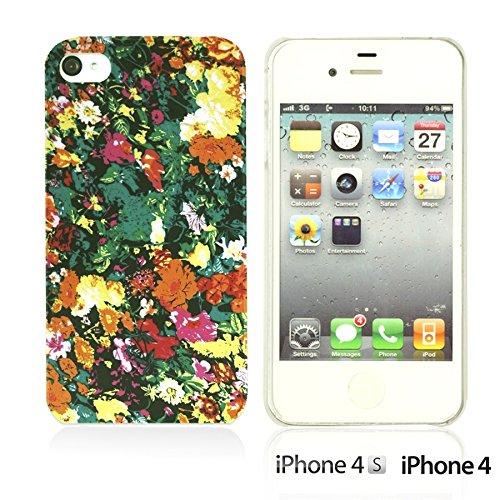 OBiDi - Flower Pattern Hardback Case / Housse pour Apple iPhone 4S / Apple iPhone 4 - Colorful Floral Art Paint Watercolor Floral Prints