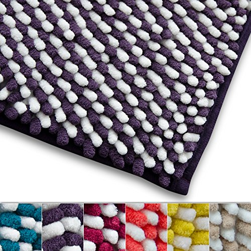 Chenille Badematte Manta | moderner Microfaser Badvorleger in Trendfarben | ÖKO TEX Standard 100 | extra hoch | Komfortgröße 50x80 cm für Badezimmer | Lila - Weiß