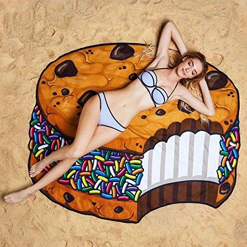 Ducomi Ibiza Telo Antisabbia Rotondo Donna Uomo Bambini Ideale per Spiaggia PIC nic Casa Piscina o Copri Costume Tovaglia con Fantasie Divertenti