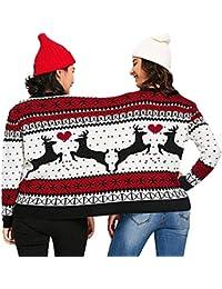 Beikoard Damen Umstandsmode, Zwei Personen hässliche Pullover Weihnachten Paare Pullover Neuheit Weihnachten Bluse Top Shirt