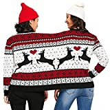 Cooljun Two Person Ugly Sweater Xmas Couples Pullover Novelty Christmas Blouse Weihnachten Top Shirt