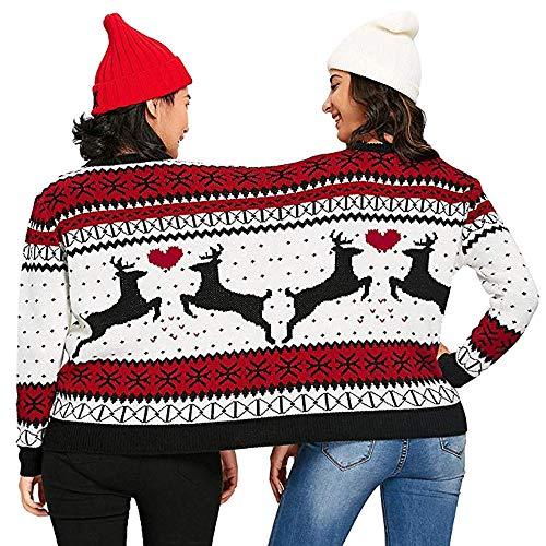 VEMOW 2018 Weihnachtstag Zwei Person hässliche Pullover Weihnachten Paare Pullover Neuheit Weihnachten Mode einzigartige warme Bluse Top Shirt Sweatershirt(Weiß, M)