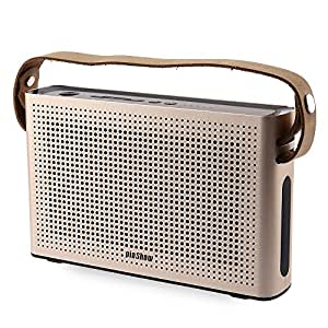 PINSHOW Ultra-portable Bluetooth 4.0 Speaker with Microphone and Aux Function, Hifi Speaker with 10W Enhanced Bass, Dual Channel Stereo, Supported Power Bank, Golden