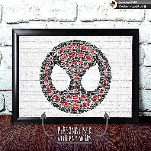 personalisierbar Marvel Spiderman Weihnachten Geschenk Weihnachtsgeschenk Andenken Wort Art, A4 Print & Black Frame