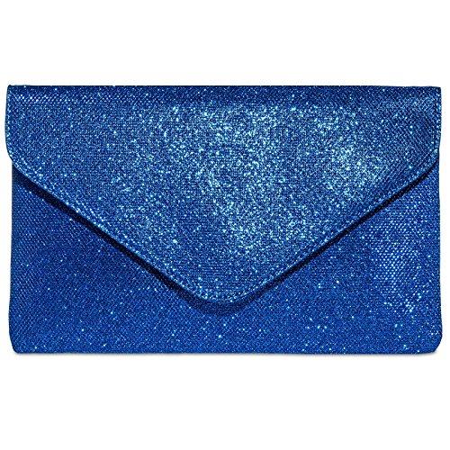 CASPAR TA357 große elegante Damen Glitzer Envelope Clutch Tasche / Abendtasche, Farbe:royal blau;Größe:One Size (Blau Royal Farben)
