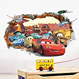 ufengke® 3D Damaged Wall Cartoon Cars Aircrafts Wall Decals, Children's Room Nursery Removable Wall Stickers Murals