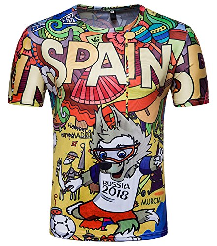 Whatlees Herren Slim Fit FIFA Fussball WM 2018 3D Druck T-Shirt Spanien - Ba0043-07 - S