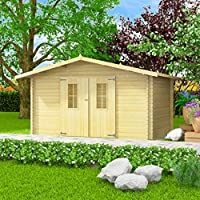 vidaXL Jardín Casa 34 mm 4 x 3 m madera maciza block Casa – Cobertizo para