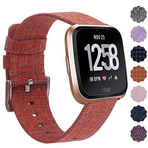 KIMILAR Fitbit Versa Correa Tejida, Liberación Rápida Reemplazo de Banda de la Muñeca Pulseras con Cierre de Metal Inoxidable para Fitbit Versa Reloj Inteligente - Naranja