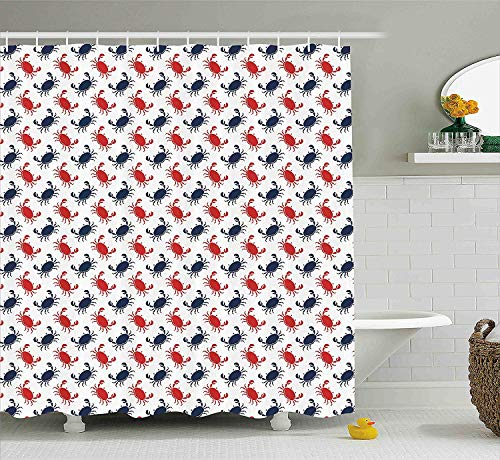 BUZRL Crabs Decor Shower Curtain, Sea Animals Theme Crabs on White Background Vintage Pattern Decorative Print, Fabric Bathroom Decor Set with Hooks, 66x72 inches, Blue and Red (Halloween Walk Cake)