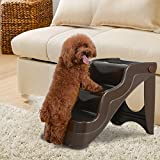 Voilamart 3 Steps Pet Dog Stairs Foldable Lockable Dog Steps Ladder Folds for Easy Storage with Nonwoven Fabric Covered Non-slip for Cat Dog Older Animals (47x38x38cm/18.5