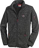Stubai - Strick Fleecejacke Herren/Strickjacke mit Fleece Innenseite für Outdooraktivität, Strick Fleece Jacke mit Stehkragen und Reißverschluss (Farbe: Anthrazit dunkelgrau, Größe: M - 3XL)