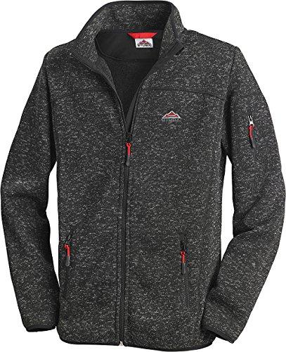 Stubai - Strick Fleecejacke Herren/Strickjacke mit Fleece Innenseite für Outdooraktivität, Strick Fleece Jacke mit Stehkragen und Reißverschluss (Farbe: Anthrazit dunkelgrau, Größe: M - 3XL) - 3xl Jacke