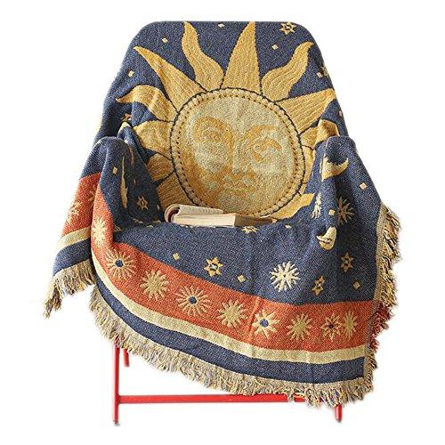 Sofa-Abdeckung mit Quasten-Rand, dekorative Wurf-Decke [Sonne]
