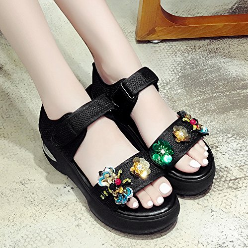 RUGAI-UE Estate sandali donne Sequtoe Chunky Comfort donne ,Thirty-Five,Nero paillettes Black Sequins