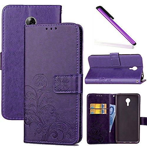 COTDINFOR Acer Liquid Z6+ Hülle für Mädchen Elegant Retro Premium PU Lederhülle Handy Tasche im Bookstyle mit Magnet Standfunktion Schutz Etui für Acer Liquid Z6 Plus Clover Purple SD.