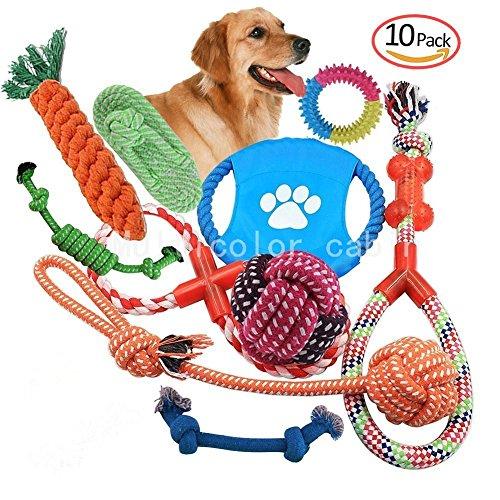 10 Set Pet Rope Toys Spielzeug Geschenk-Set Hund kauen Spielzeug Welpen Zhne Reinigung Non-Toxic Tasteless Sturdy Durable Geeignet für kleine und mittelgroe Hunde (Hund Kauen Spielzeug)