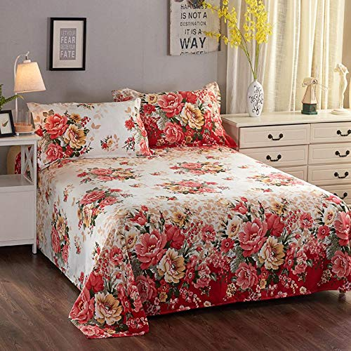 Global Brands Online 1 Stück Luxus Pfingstrose Blumenmuster Rüschen Rüschen Tagesdecke Bettwäsche-Sets -