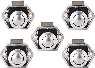 Bona 5 Pack Push Button Catch Door Lock 15–27mm Verriegelung Regler Für Boot Pferdeanhänger Camper Van Weiß