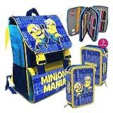 Zaino Scuola Minion + Astuccio 3 Cerniere Minions Mania PS 07064
