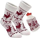 Brubaker Kuschel Geschenk Set Warme Füße Damen Norweger Socken Woll-Weiß/Bordeaux - mit Wärmflasche Rot