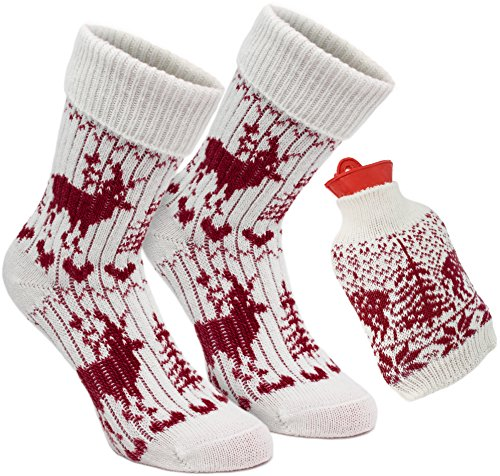 """BRUBAKER Kuschel Geschenk Set """"Warme Füße"""" Damen Norweger Socken Woll-Weiß / Bordeaux - mit Wärmflasche Rot"""