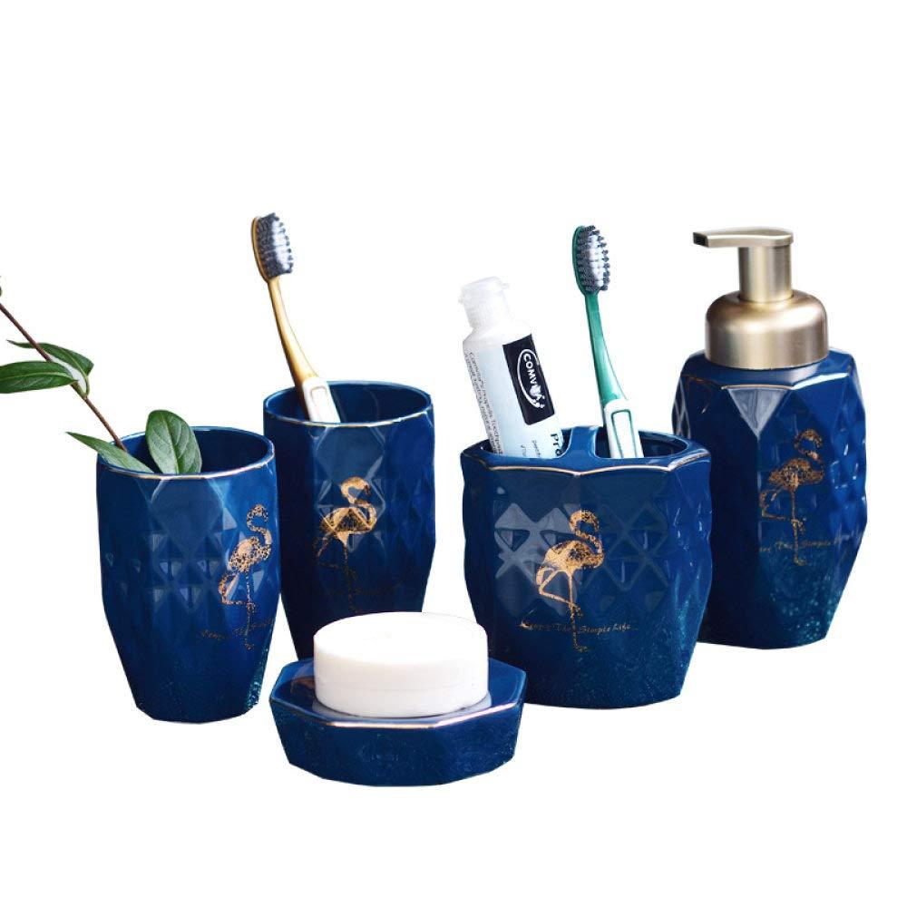 Bagno Accessori Bagno.Accessori Bagno Set In Ceramica Arredo Bagno Set Accessori Contengono 5 Pezzo Rombica Blu Golden Flamingo Dispensatore Di Sapone 2pz