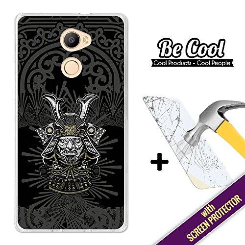 Becool® - Funda Gel Flexible para Elephone C1, [ +1 Protector Cristal Vidrio Templado ], Carcasa TPU fabricada con la mejor Silicona, protege y se adapta a la perfección a tu Smartphone y con nuestro exclusivo diseño. Cabeza de Samurai.