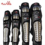 #4: MotoPanda Motorcycle Bike Racing Riding Knee Shin Guards Adult Alloy Steel & Elbow Guard Flexible Breathable Adjustable Fits Most (Set of 4 Black)