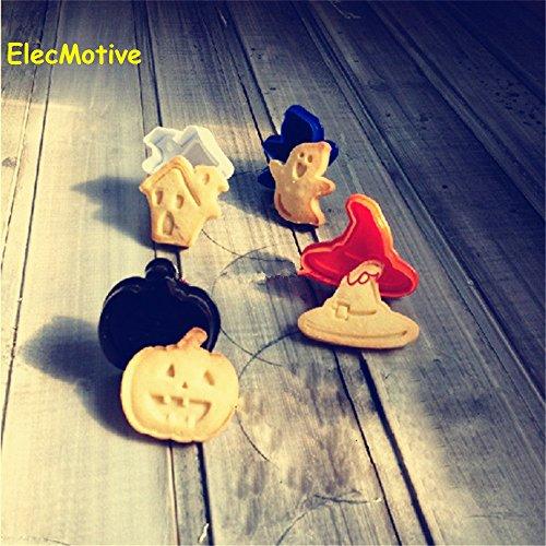 ElecMotive 4 teiliges Halloween Cookie Cutters Plätzchenformen Backformen Fondant Keks Ausstechformen Set mit Auswerfer Farbe zufällig gesendet (Halloween)