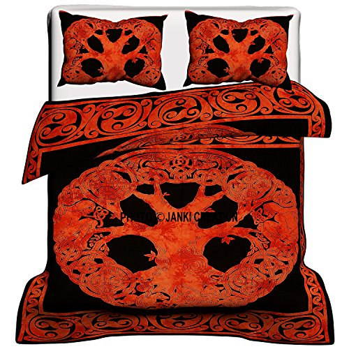 Janki Creation orange Keltischer Baum Wende Queen Size Bettbezug-Set mit Kissen, Mandala Bettdecke, Tree of Life Bettbezug, Bohemian Tagesdecke, Doona Bettwäsche, Boho duvetcover orange