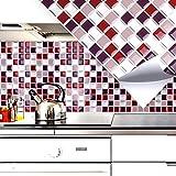 Grandora 4er Set 25,3 x 25,3 cm Fliesenaufkleber rot beige Silber Mosaik I 3D selbstklebend Fliesen Fliesendekor Küche Bad Wandaufkleber Folie W5202