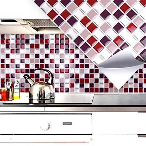 4er Set 25,3 X 25,3 Cm Fliesenaufkleber Rot Beige Silber Mosaik I