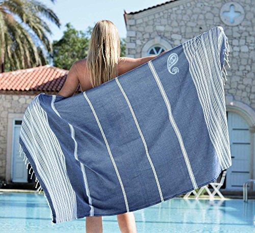 Fouta telo mare grande 'biarritz' con strisce   asciugamano hammam xl, 100x190 cm   molto lussuoso, 100% in puro cotone di alta qualità   disegno esclusivo zusenzomer (blu e bianco)