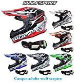 Casque moto WULF SCEPTRE ADULTE MX HELMET moto quad VTT motocross enduro casque sport + X1 lunettes noir (vert, M)